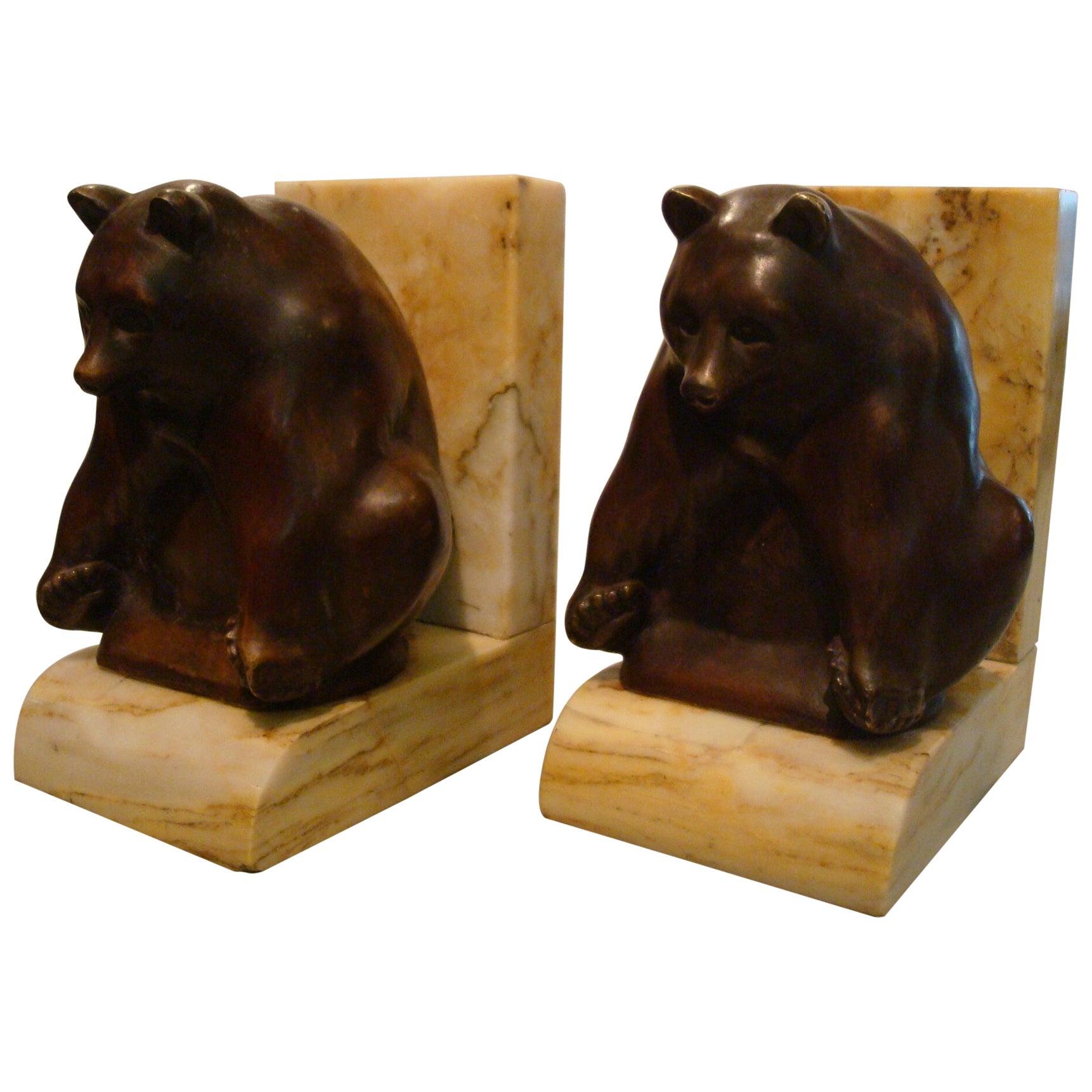 Art Deco Grisby Bear Sculpture Bronze Bookends, France, circa 1925