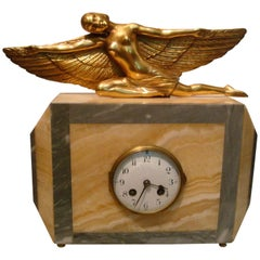 Art Deco French Gilt Mantel Clock Nude Woman with Wings, Aviation Sculpture