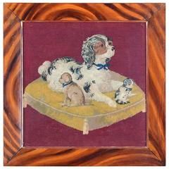 English Berlin Wool Needlework Picture of Cavalier King Charles Spaniel