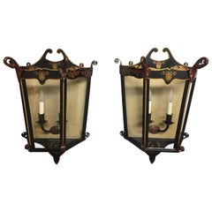 Pair of Beautiful Italian Lantern Shaped Wall Sconces with Swans
