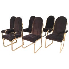 Set of Six Hollywood Regency Velvet and Brass Dining Chairs
