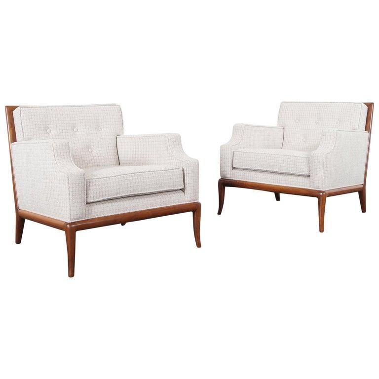 T.H. Robsjohn-Gibbings for Widdicomb Walnut Lounge Chairs