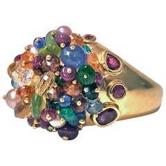 1950s French 18-Karat Multi Gem Tutti Frutti Dome Cocktail Ring