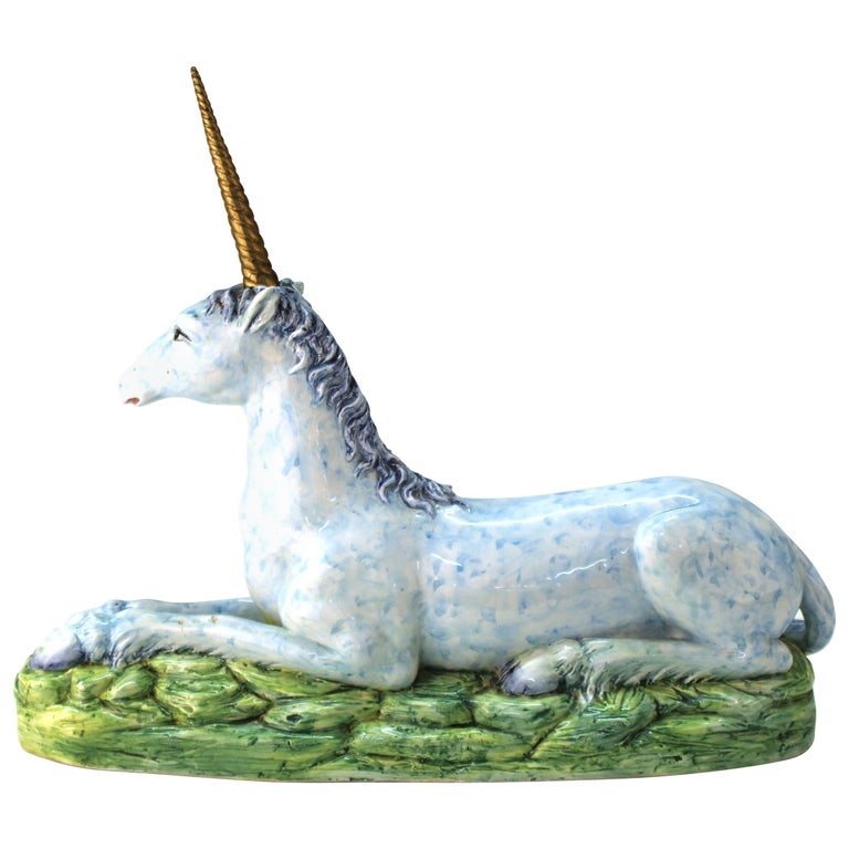 Italian Glazed Ceramic Blue Unicorn