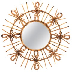 Rare Spanish 1950s Rattan Sunburst Mirror with Chinoiserie or Tiki Accents