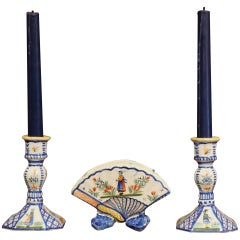 Mid-20th Century French Henriot Quimper Pair of Candlesicks with Matching Vase