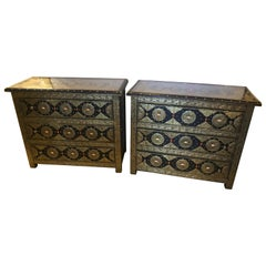Pair of Brass and Ebony Camel Bone Inlaid Moroccan Commode or Nightstands