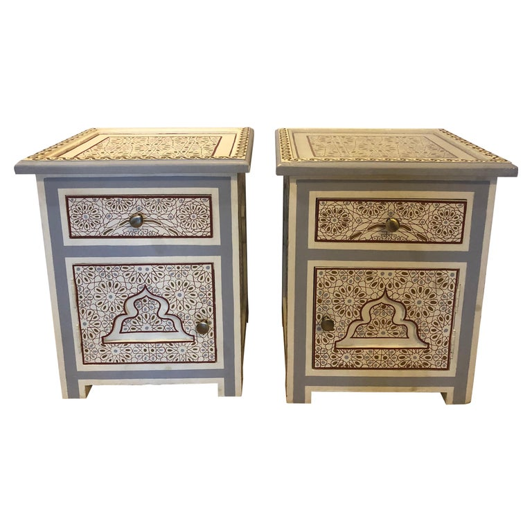 Pair of Moorish Style White Blue-Gray and Burgundy Night Stand or End Tables