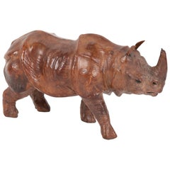 Miniature Leather Rhinoceros with Glass Eyes