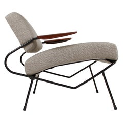 Dan Johnson Iron Lounge Chair with Bent Walnut Plywood Armrests
