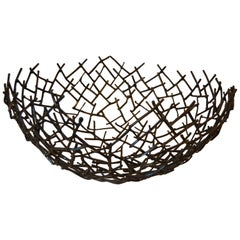 Modern Michael Aram Thatch Bowl in Bronze Nest Twig