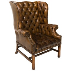 English Tufted Leather Wingback Armchair