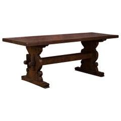 Antique Danish Oak Trestle Harvest Table