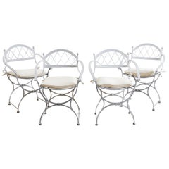 Set of Four Neoclassical Cast Iron Garden Chairs