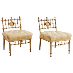 American Aesthetic Movement Giltwood Tufted Slipper Chairs