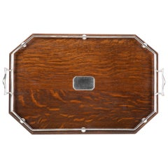 English Oak and Silvered Bronze Serving Tray