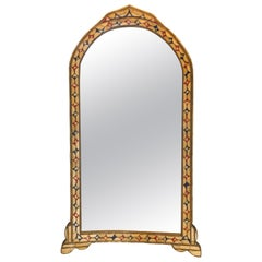 Moroccan White/Red and Blue Colored Bone over Brass Frame Floor/Wall Mirror