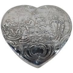 Antique German Sterling Silver Olden-Days Heart Box