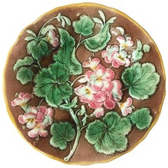 English Majolica Begonia Plate, circa 1880