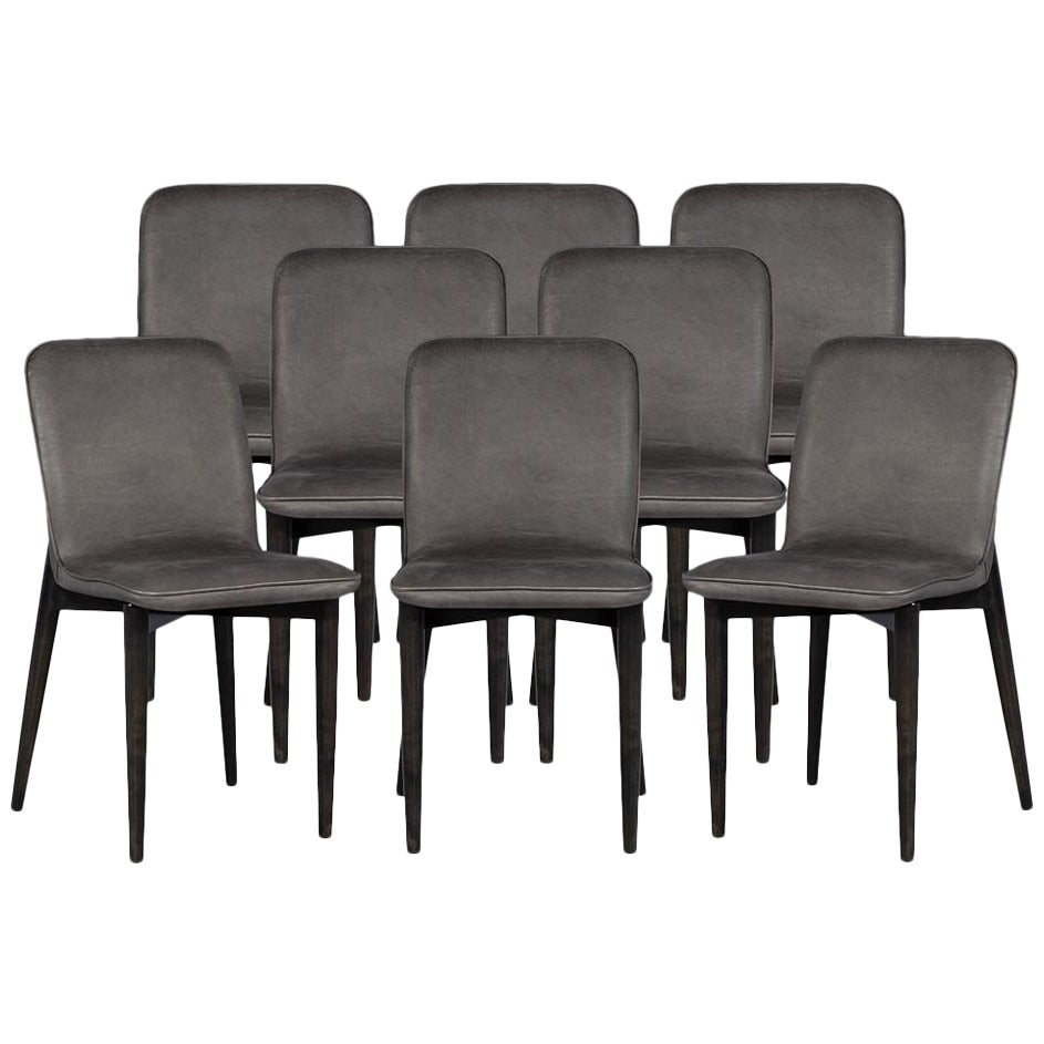 Set of 8 Modern Leather Dining Chairs by Carrocel