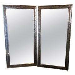 Pair of Moroccan Hollywood Regency Large Wall / Floor Pier Silver Metal Mirrors