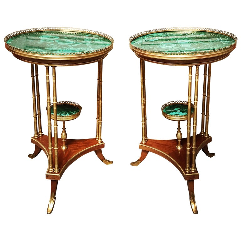 Magnificent Pair of French Louis XVI Style Gueridons with Malachite Surfaces