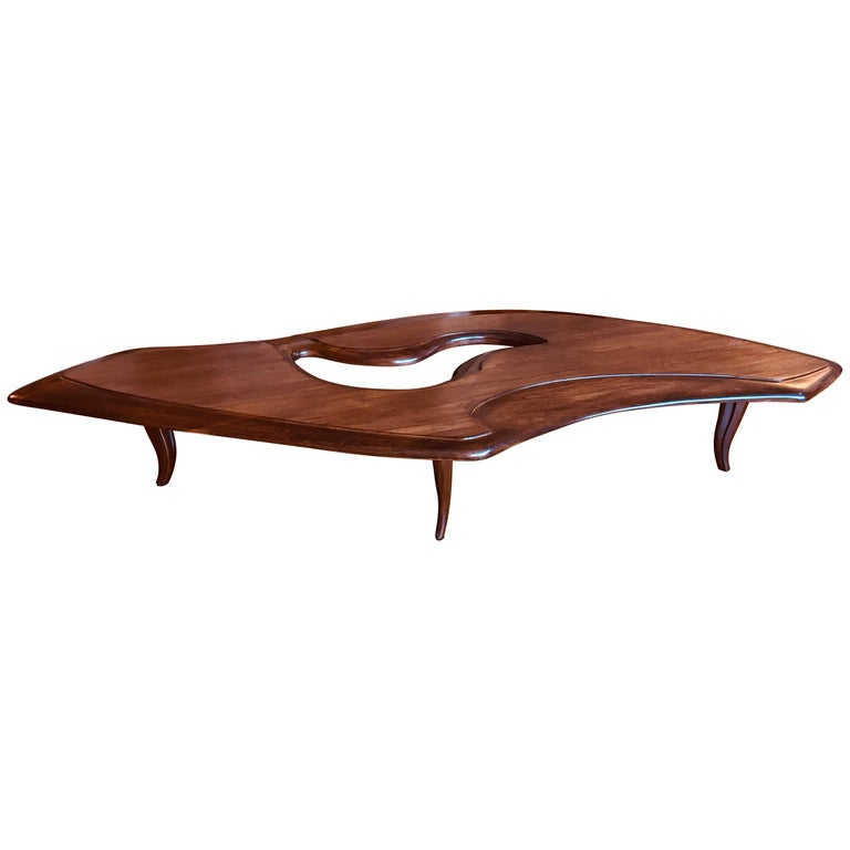 Midcentury Sculptural Wood Cocktail Table