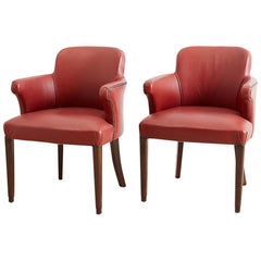Pair of Midcentury Brass Studded Leather Armchairs