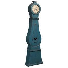 Antique Blue Painted Swedish Mora Clock