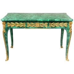 Late 19th Century Gilt Bronze Mounted Louis XV Style Malachite Center Table