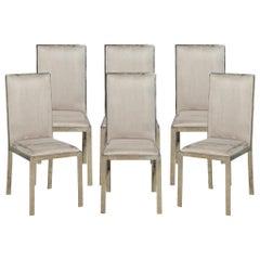 Set of 6 Italian Vintage Mid-Century Modern Brass Dining Chairs