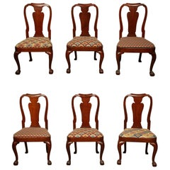 Set of Eight George II Ball and Claw Foot Dining Chairs