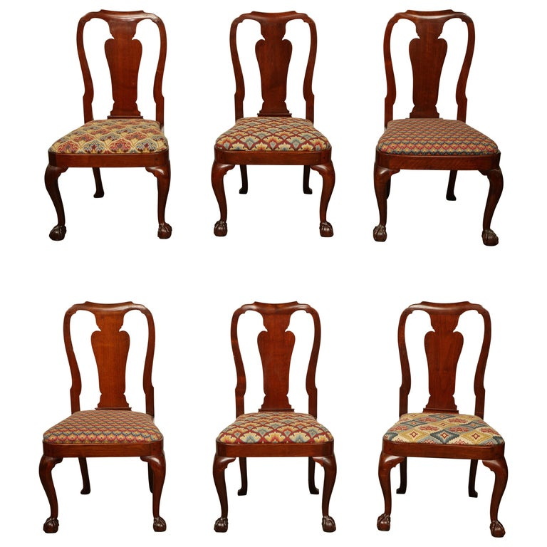 Set Of Eight George Ii Ball And Claw Foot Dining Chairs For