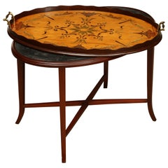 English Oval Inlaid Tray on Stand