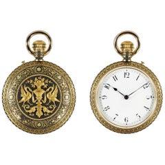 Rare Placido Zuloaga Spanish Damascened Gold and Steel Pocket Watch