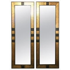 Pair of Moroccan Gold Brass and Ebony Wood Framed Pier or Console Mirrors