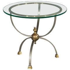 Maison Jansen Style Glass Top Satin Nickel and Brass Accented Parlor End Table