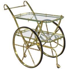 Vintage Midcentury Italian Brass Bar Cart