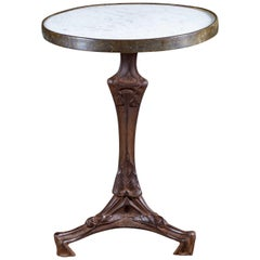 Art Nouveau Vintage French Iron Brass Marble Top Bistro Table, circa 1900