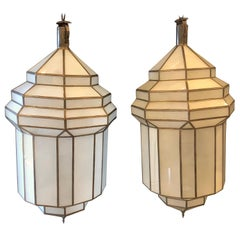 Pair of Large Milk Glass Octagonal Pendants/ Lanterns or Ceiling Fixtures