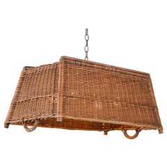 Vintage French Woven Basket Chandelier, circa 1920