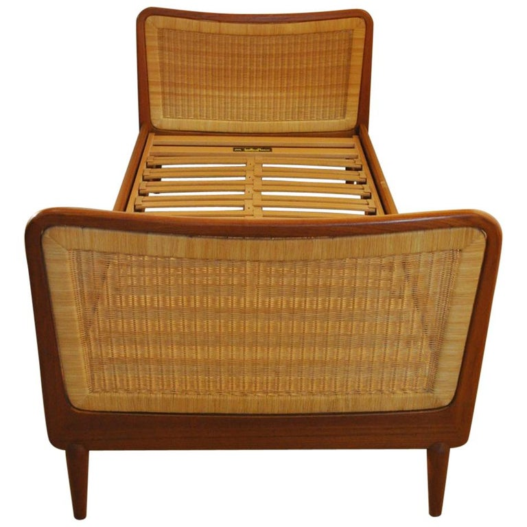 Midcentury Teak Bed with Woven Cane Head and Footboard