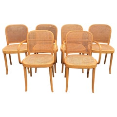 Set of Six Thonet Style Bentwood and Caned Chairs by Salvatore Leone, circa 1920