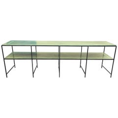Long Custom Iron Tiered Table with Painted Green Top