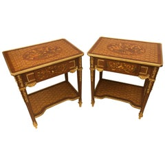 Pair of Louis XVI Style End or Lamp Tables with Bronze Mounts and Inlaid