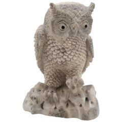 North American Moose Antler Carving Owl