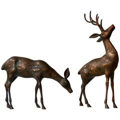 Mid-Century Modern Pair Brass Bronze Deer Floor Sculptures Statues