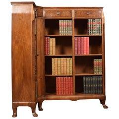 Figured Walnut Corner Open Bookcase