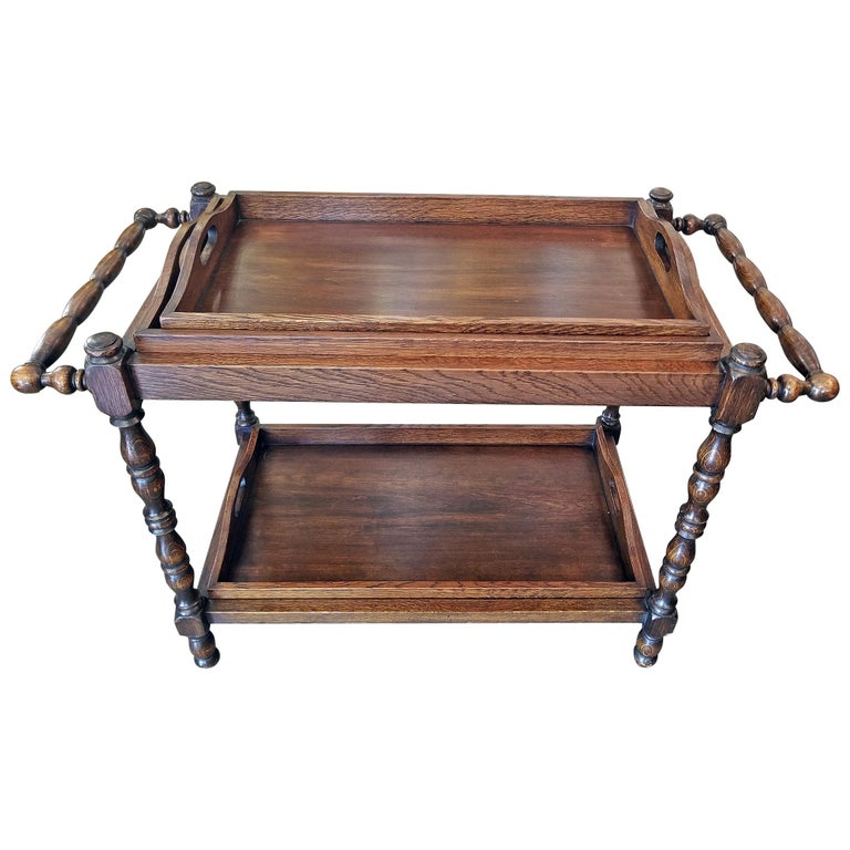 19th Century British Provincial Oak Butlers Tray Stand with 3 Trays