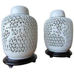 Pair of Blanc de Chine Lidded Ginger Jar Lamps, circa 1960s